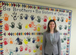 Nancy Stallmach with the quilt outside Big Brothers Big Sisters of Dufferin's office. The organization merged in 1996, and helps mentor youths in the County. Yearly, they self-fund $160'000, by raising money through annual events, like bowling and golf tournaments.
