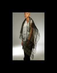 Betsy Giberson: PIECED ORGANZA SCARF OVER DRESS