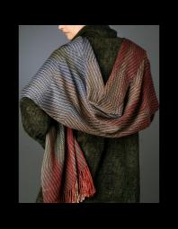 Kathy Hutchinson: Warp ikat silk shawl and chenille coat