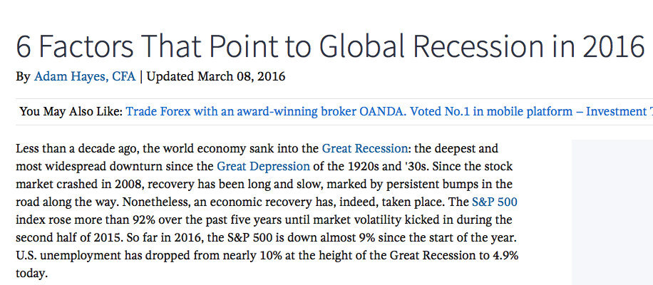 Recession scan