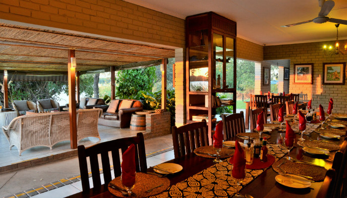 Dining area overlooking the Chobe River