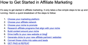 Steps to start in affiliate marketing
