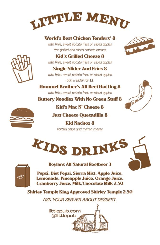 New Kids menu at Little Pub.
