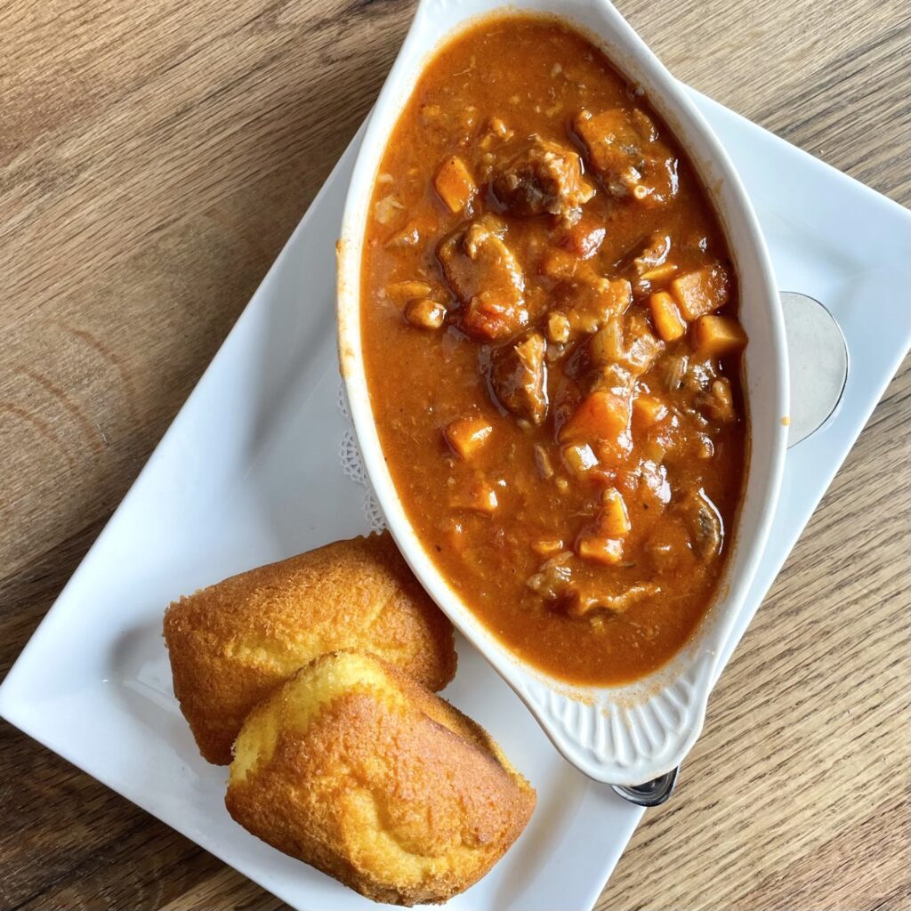 Short 'n Sweet Chili Chunky short rib & sweet potato chili served with warm cornbread