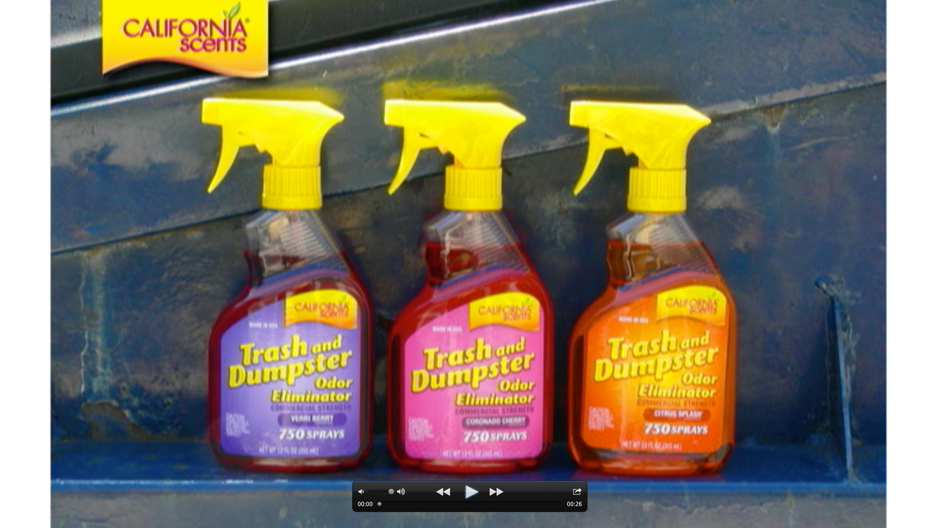 California Scents, consumer  dumpster spray label and bottle