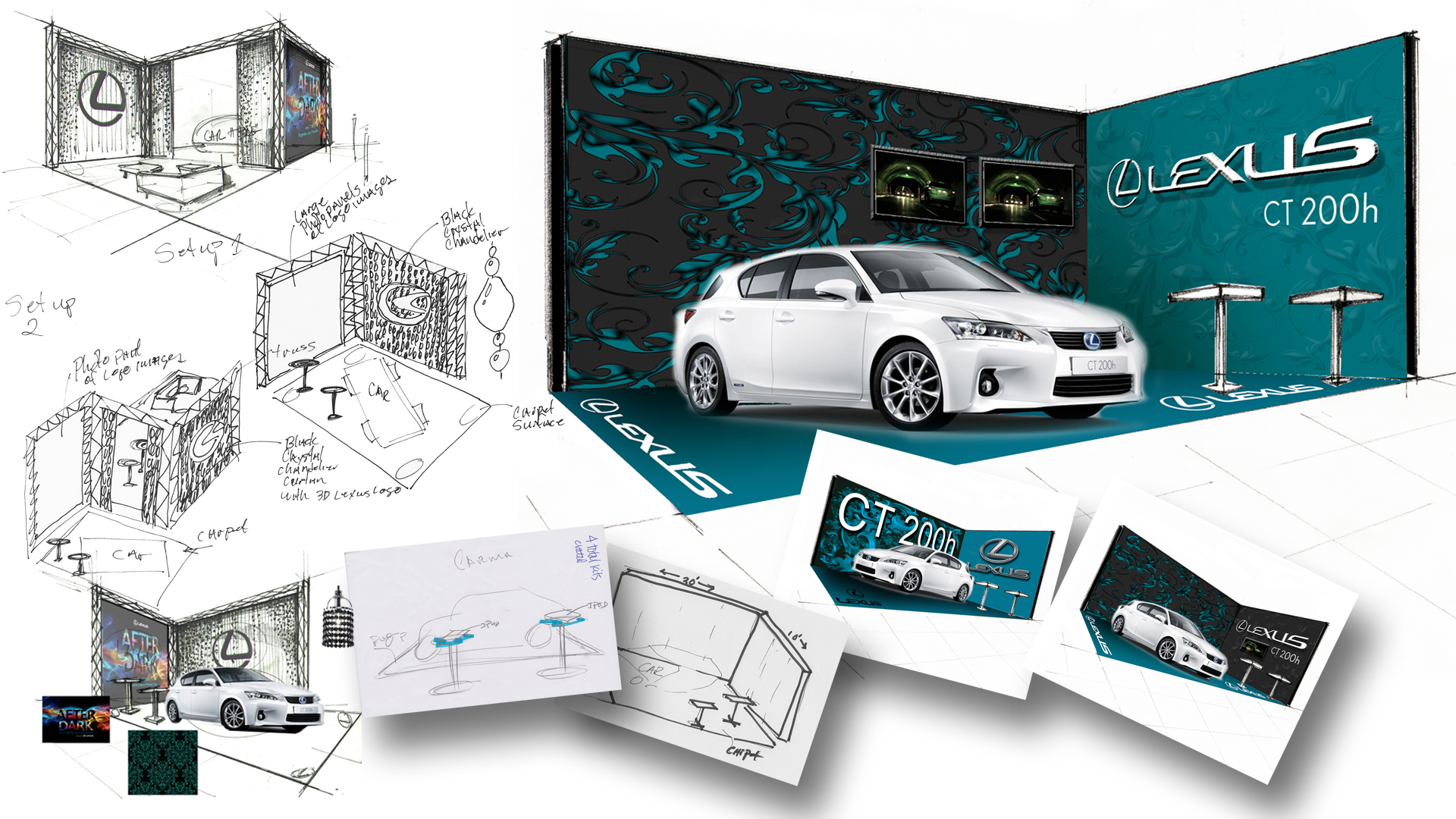 Concept illustrations for Lexus CT200h After Dark Event and Ride and Drive Event.