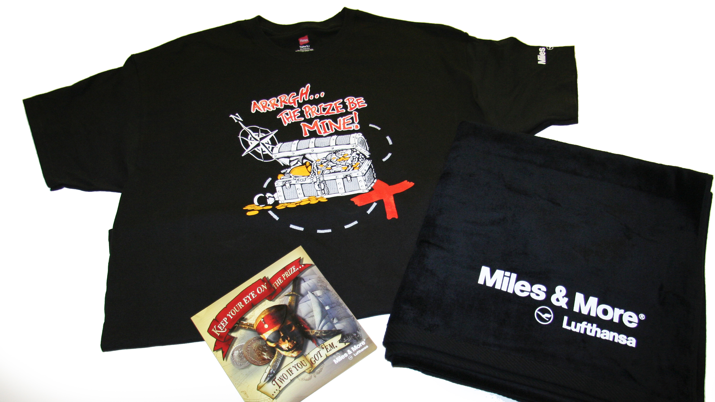 Lufthansa Miles & More Special Incentive Program Award Gifts T-Shirt and Beach Towel