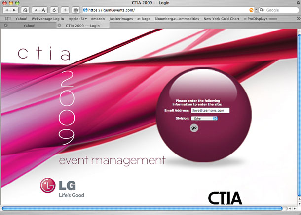 Digital Registration Site for LGE Mobile CTIA Event