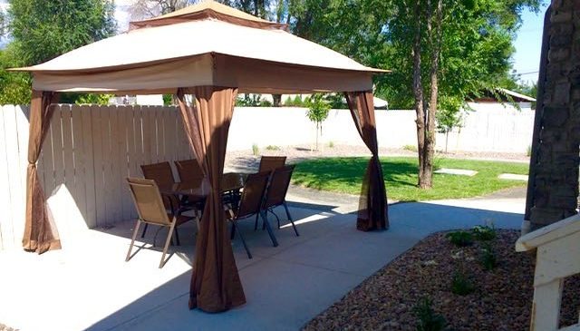 Secured outdoor area with pavilion at Littleton memory care home