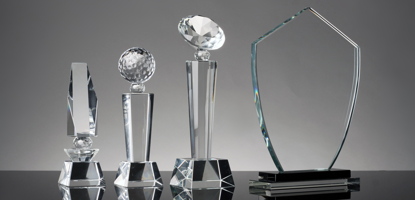 Glass trophies and awards from R&R Specialties