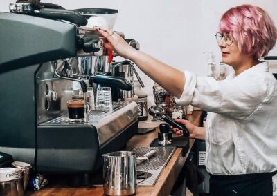 Lizzie Barista with Pink Hair