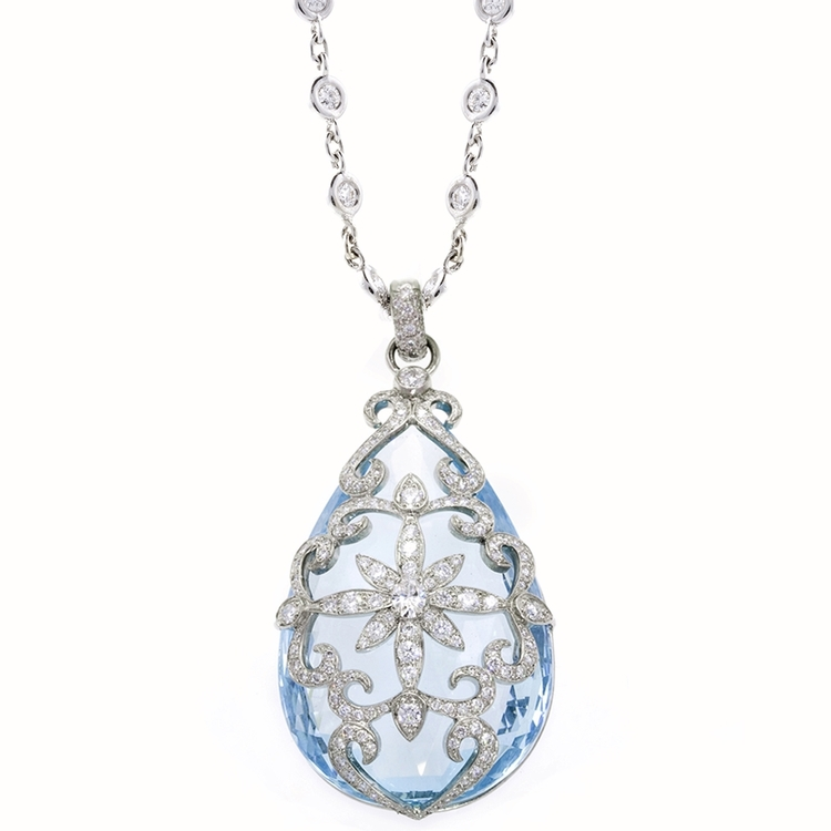 AQUA PENDANT Platinum pendant featuring a 112.84 ct. Aquamarine with 2.02 ctw. of Diamonds. Chain Sold Sepearetly.