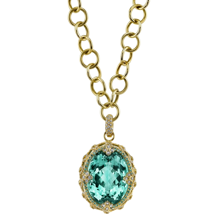 PARADISE PENDANT 18K Yellow Gold pendant featuring a 50.78 ct. Tourmaline, 1.89 ctw. of Diamonds, and .61 ctw. of Paraiba.