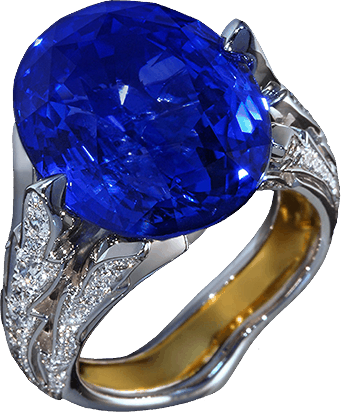 NORTHERN FLOWER In the center of the composition is the rare blue sapphire that reminds a flower-bud on a golden stem with diamond leaves...