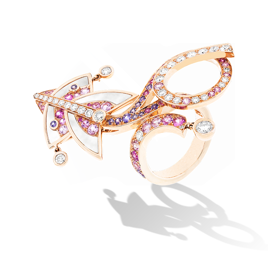 Cerfs-Volants 1 motif Between the Finger Ring,Gold-carousel-VCARO5QI00-Van Cleef & Arpels1 Cerfs-Volants 1 motif Between the Finger Ring. Cerfs-Volants 1 motif Between the Finger Ring, pink gold, round pink and mauve sapphires, white mother-of-pearl, round diamonds; diamond quality DEF, IF to VVS.