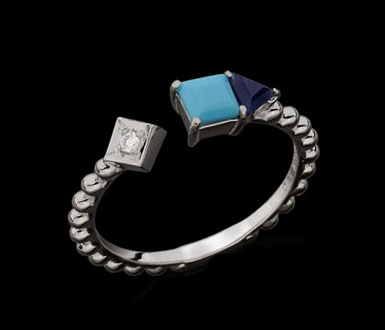 Trancoso Ring white gold with turquoise, blue and diamond dumortierite