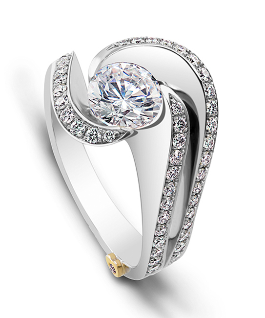 The Brilliance engagement ring contains 58 diamonds, totaling 0.515 ctw. Center stone sold separately, not included in price.