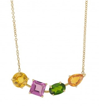 18K Yellow Gold Necklace With Round Yellow Sapphire, Square Rodolite, Oval Chrom Diopside And Pear Orange Sapphires On 45cm Yellow Gold Chain