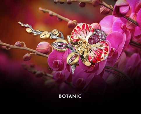 BOTANIC The real precious flowers are blossoming in Mousson Atelier! Our jewelers have used various techniques of metal working, stone setting and Mousson Atelier very own brand style of enamel treatment to create this exquisite jewelry collection. The multiple layers add volume to the jewelry pieces and make them look even more realistic. This bouquet of flowers will bring you a flavor of summer and delight you and your loved ones for many seasons and years.