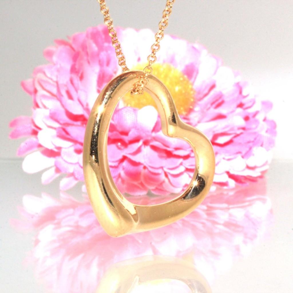 Authentic Tiffany & Co Elsa Peretti 18k Yellow gold Open Heart Necklace chain