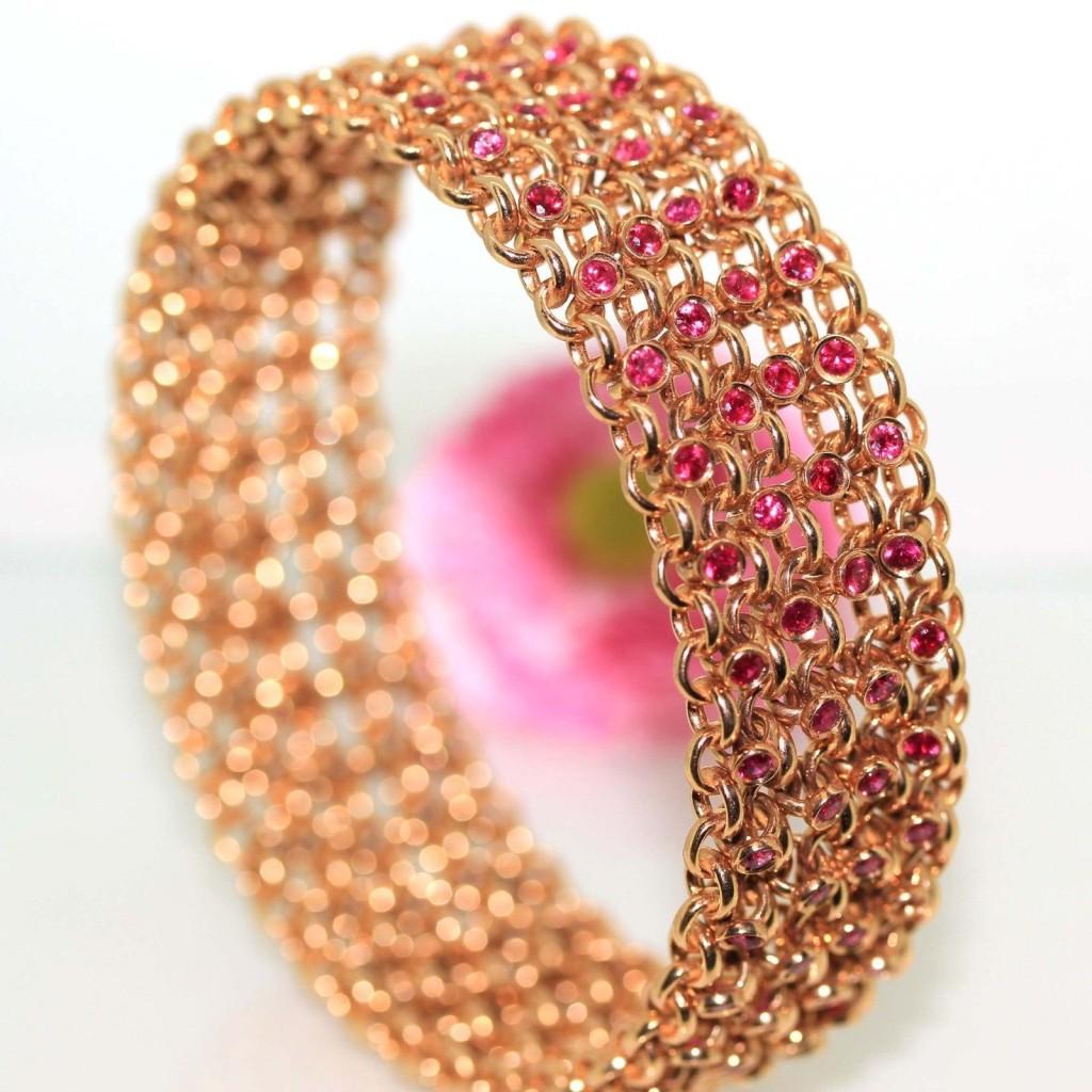 18k Yellow gold Natural Ruby O ring Italian Flexible Bangle charm Bracelet 98.5g