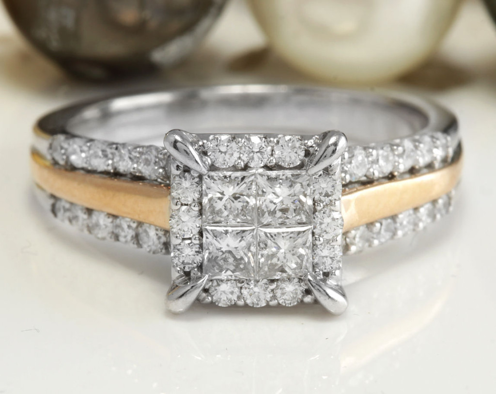 1.20CTW Estate Natural VS2-SI2 F-G DIAMONDS in 14K Solid TwoTone Gold Women Ring