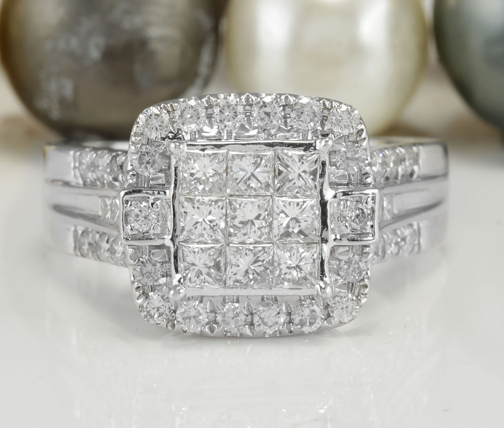 Estate 1.75CTW Natural VS2-SI2 / G-H DIAMONDS in 10K White Gold Women Ring
