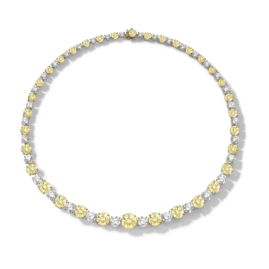 Brilliant cut fancy yellow and diamond necklace in platinum and 18ct yellow gold