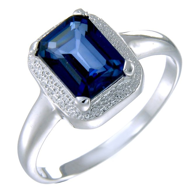 Vir Jewels Sterling Silver Created Blue Sapphire Ring