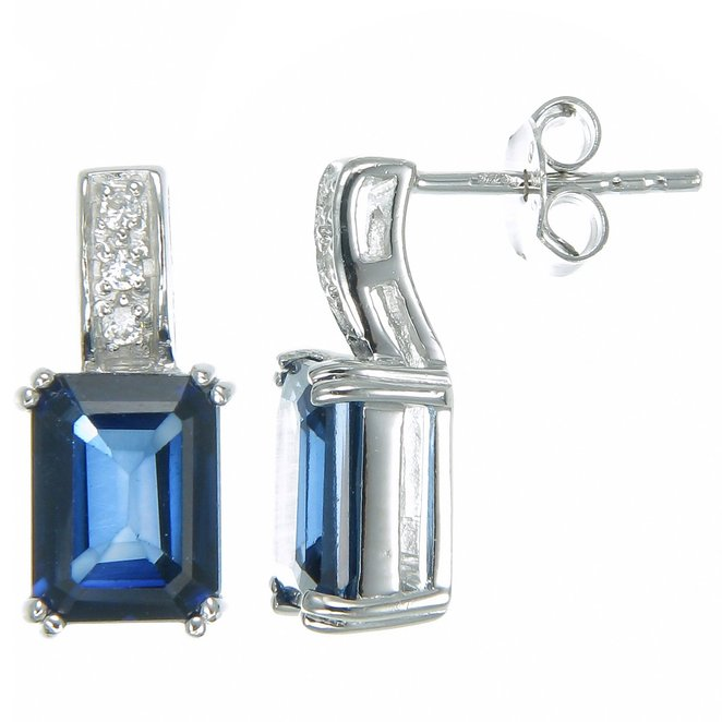 Vir Jewels Sterling Silver Created Blue Sapphire Earrings