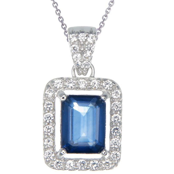 Vir Jewels Silver Created Blue Sapphire Pendant (2.10 CT) With 18 Inch Chain