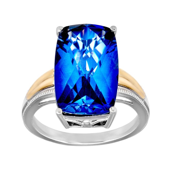 10 ct Ceylon Sapphire Ring in Sterling Silver and 14K Gold