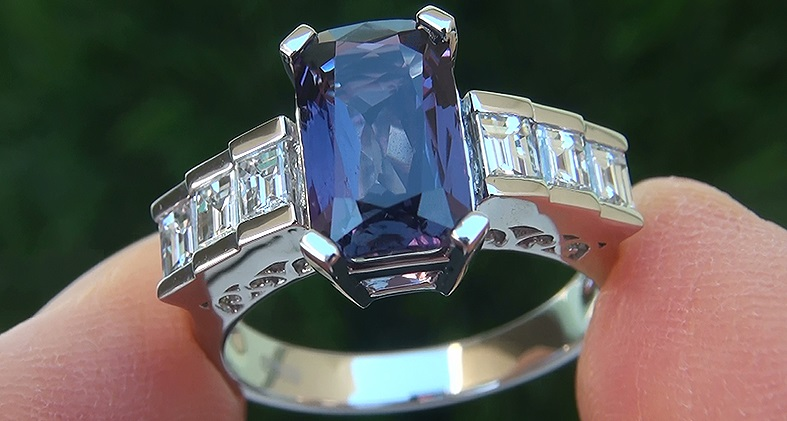 A Stunning 3.54 Carat GIA Certified Unheated & Untreated Natural Color Change Sapphire & Diamond Ring.