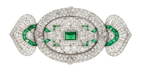 Art Deco Diamond, Emerald, Platinum Brooch, Lacloche Frères