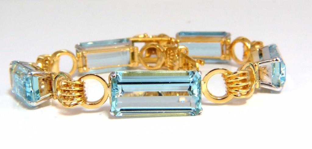 Aquamarine Bracelet Vintage 80.00ct (5) emerald cuts 18kt coil link 7 inch blue