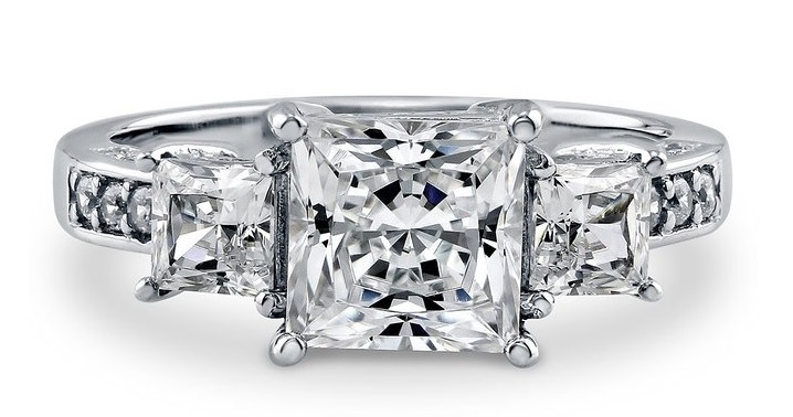 BERRICLE Sterling Silver 3.13 ct.tw Princess Cubic Zirconia CZ 3 Stone Engagement Wedding Ring