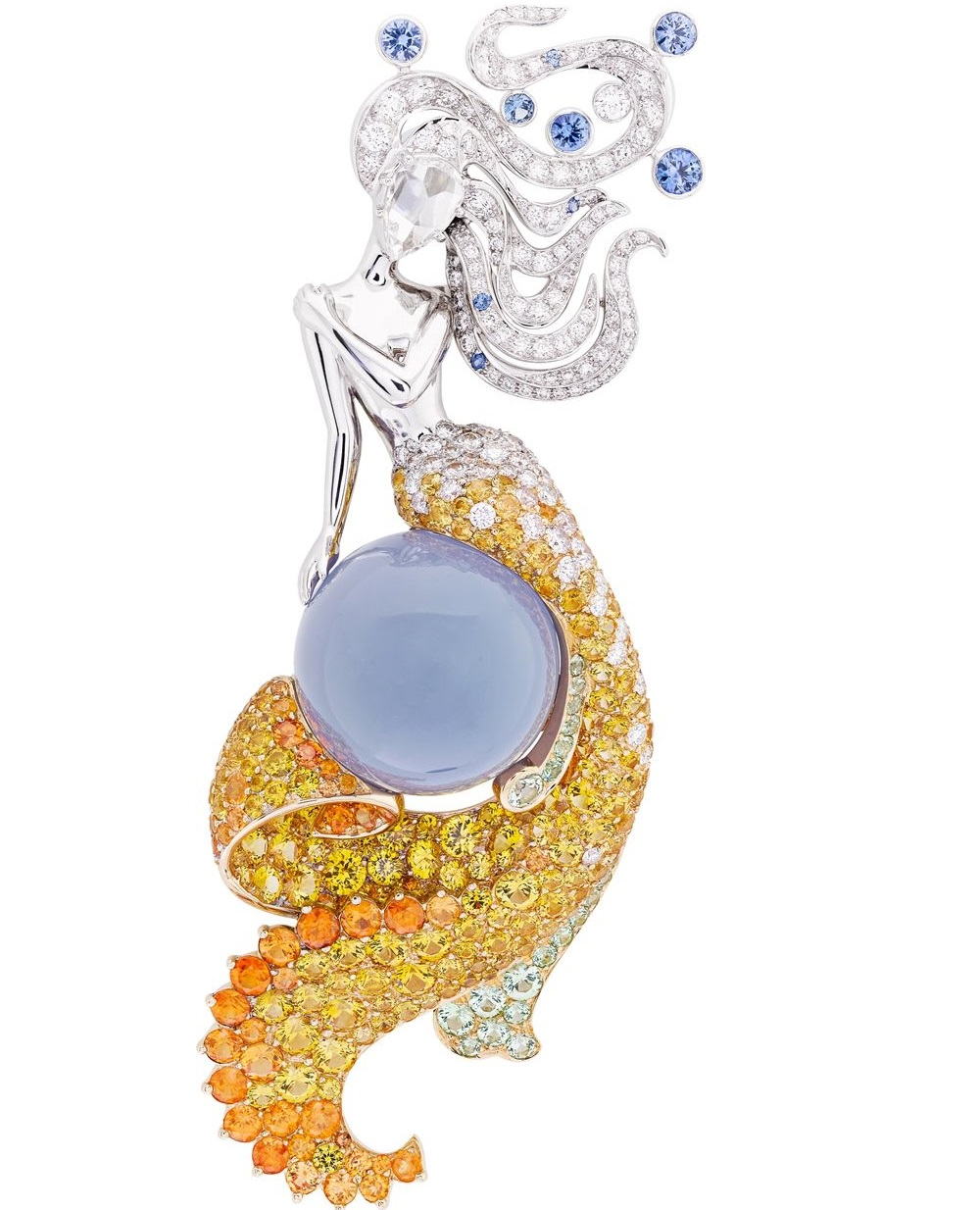 Van Cleef & Arpels ~ The 'Seven Seas' Collection 'Fairy of Sea' clip. Inspired by the Indian and Atlantic Oceans, the clip is set with diamonds, blue and yellow sapphires, spessartite and grossular garnets and a 23.64-carat cabochon chalcedony in white and yellow gold. 2015.