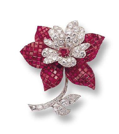 Mystery-set Ruby & Diamond Flower Brooch, Van Cleef & Arpels