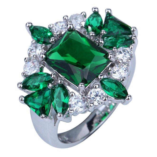 Elegant Silver Plated Clear Rhinestone Crystal Engagement Band Ring Wedding