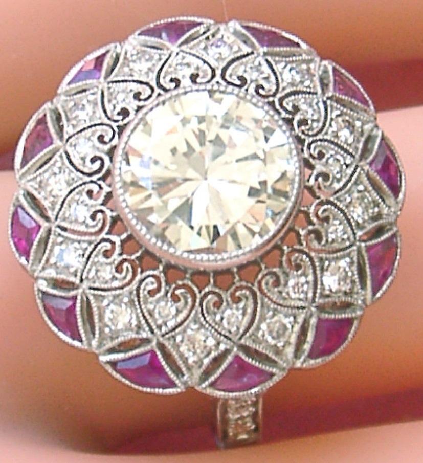 ESTATE ART DECO 2.80ct BRILLIANT DIAMOND RUBY PLATINUM ROUND LACEY COCKTAIL RING
