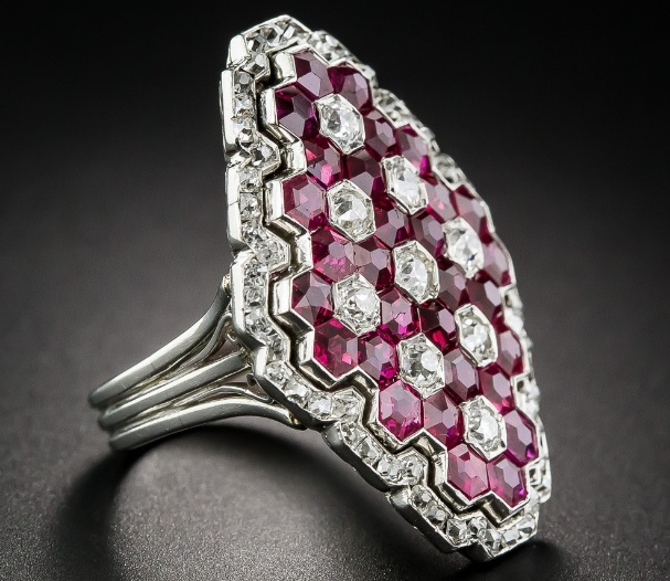 Magnificent Art Deco Ruby and Diamond Ring