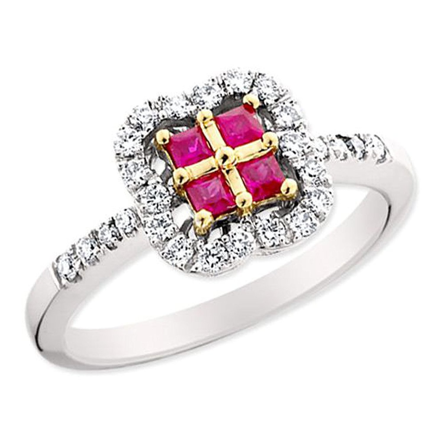 18kt Two-Tone Gold Ruby and Diamond Ring