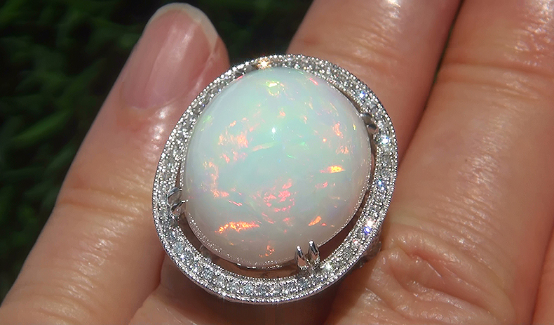 GIA 20.26 ct Natural Ethiopian Opal Diamond 14k White Gold Estate Cocktail Ring