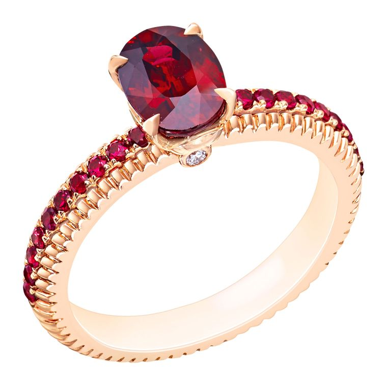 This Fabergé engagement ring features rubies in a delicate, fluted setting with matching pavé gems (£7,330)