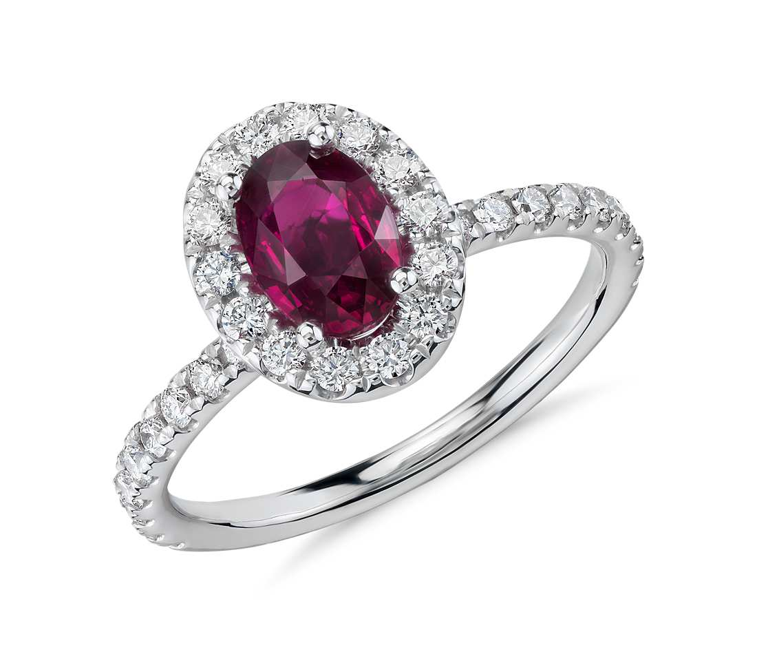 Oval Ruby and Diamond Ring in 18k White Gold (7x5mm)