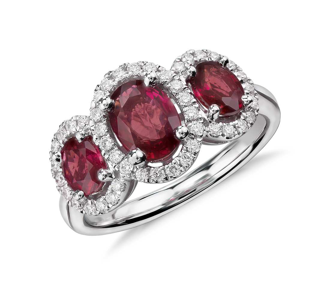 3-Stone Oval Ruby and Diamond Ring in 18k White Gold (7x5mm)