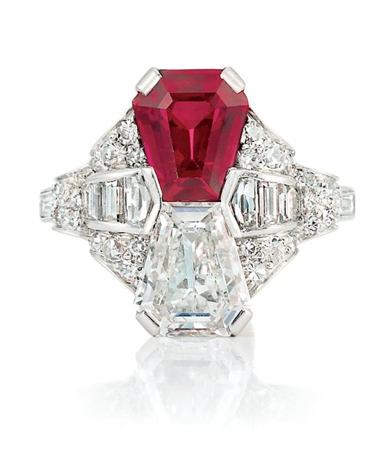 Art Deco Platinum, Ruby and Diamond Ring Set