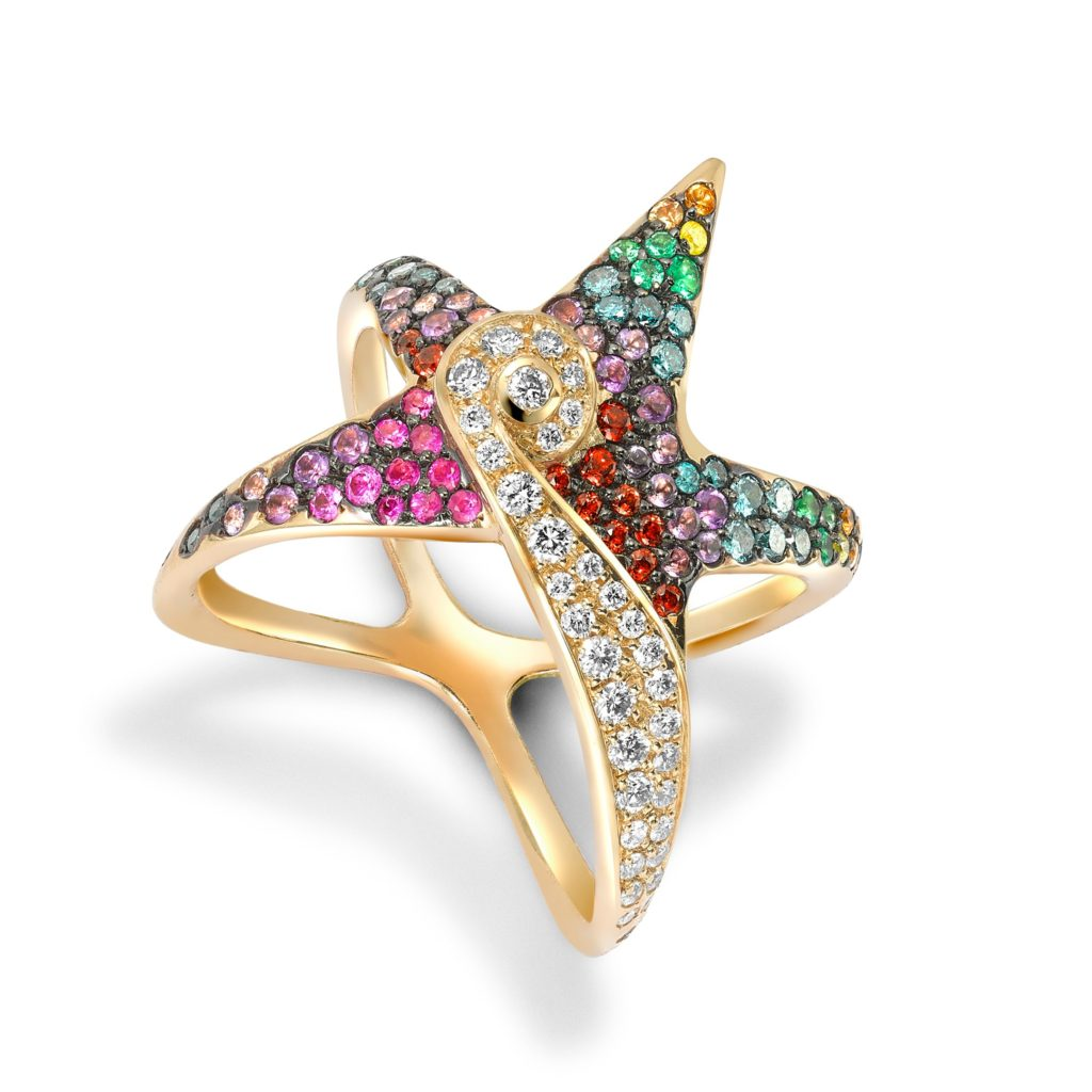 The Starfish ring from the Oseanyx collection by Greek jewellery brand Venyx World is set with white and blue diamonds as well as garnets, amethysts, pink and yellow sapphires and emeralds.