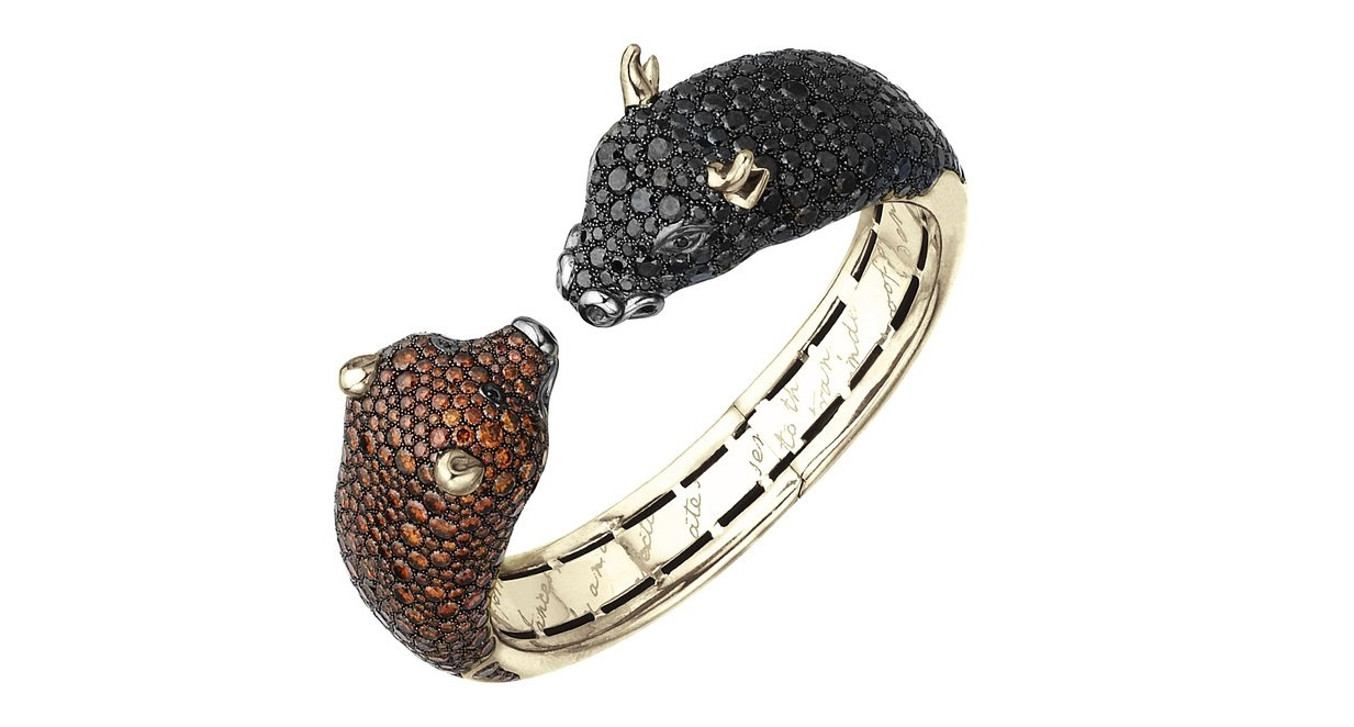 The Stunning Wall Street Bull and Bear Cuff Bracelet in 18K Gold with Cognac & Black Diamonds