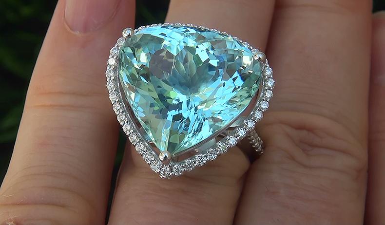 GIA 20.26 ct FLAWLESS Natural Aquamarine Diamond 14k White Gold Cocktail Ring